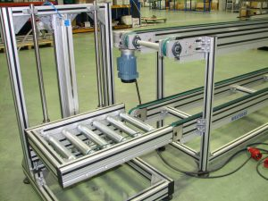 Elevation systems with roller conveyor