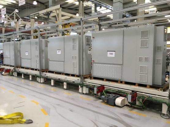 Assembly line for electric panels