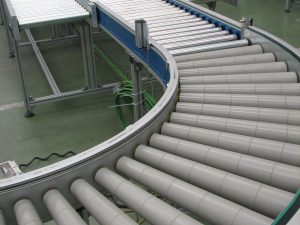 Roller conveyor 90º turn, desing for logistics.